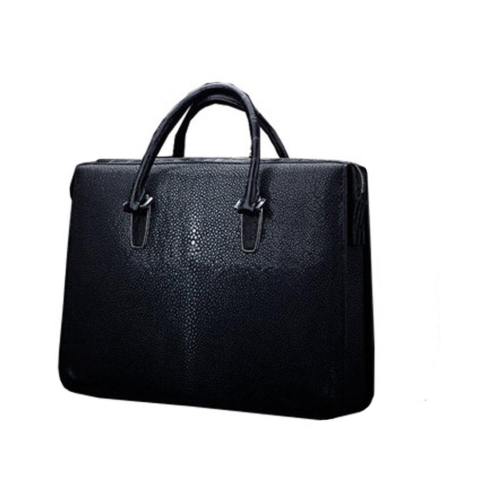 MSHG male handbag stingray leather  Pearl Skin man briefcase Business men handbag single shoulder bag male laptop bag black
