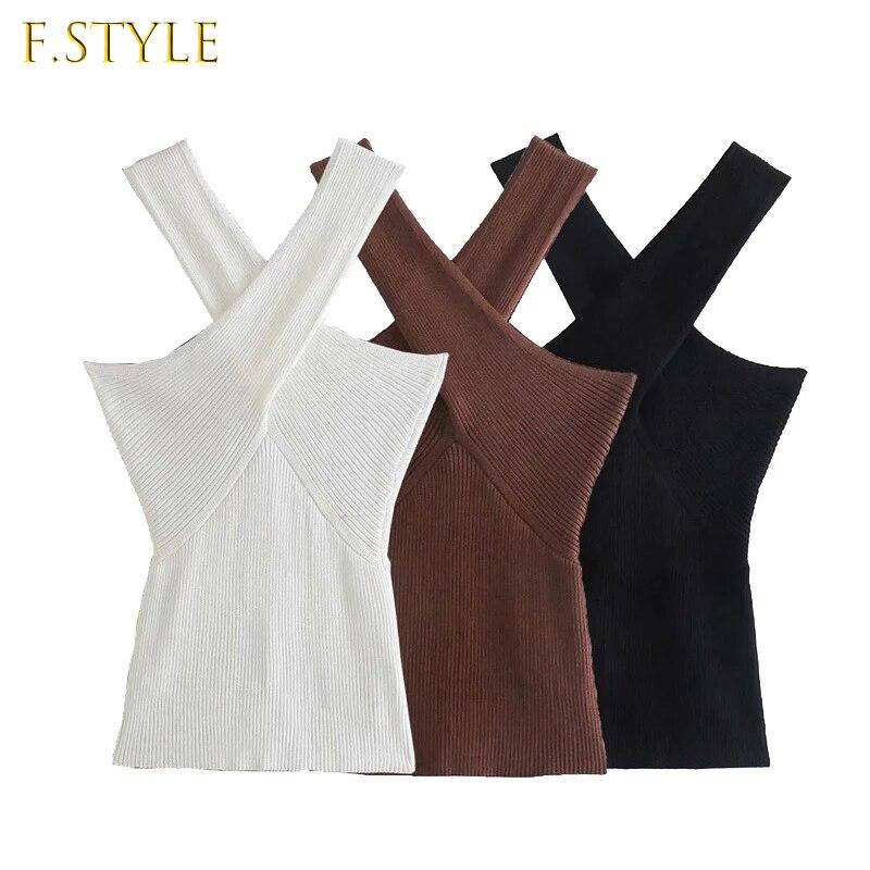 Женские сексуальные модные трикотажные майки с перекрестными бретельками, винтажные облегающие Женские майки без бретелек, шикарные топы