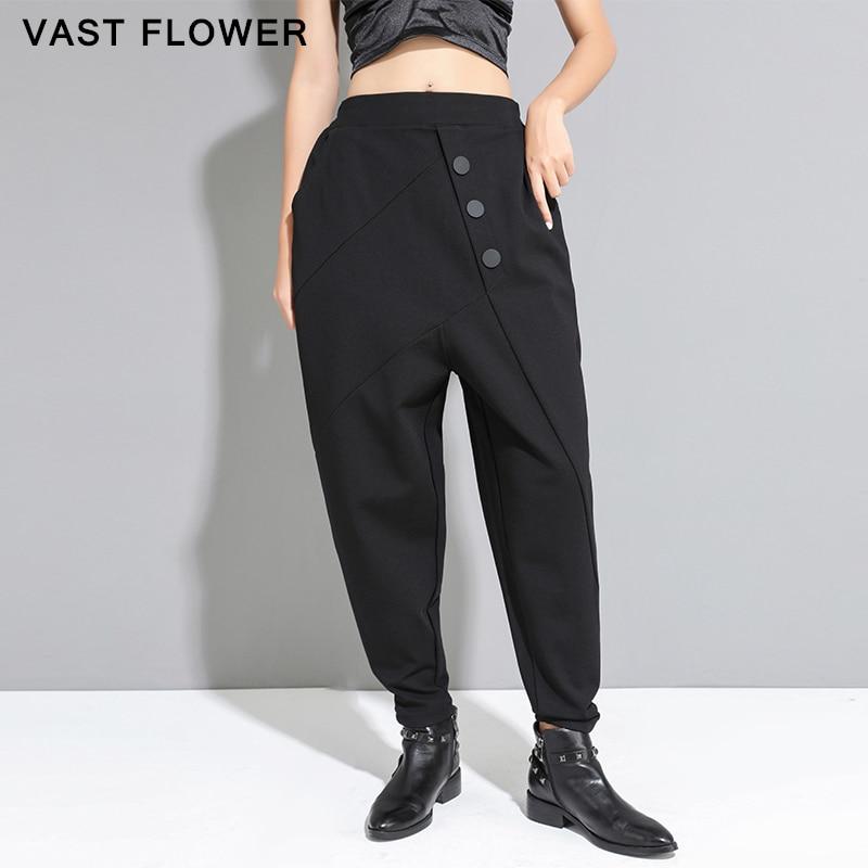 بنطلون نسائي أسود عالي الخصر بأزرار ، ملابس الشارع العصرية ، جيوب ، ربيع-خريف ، 2021