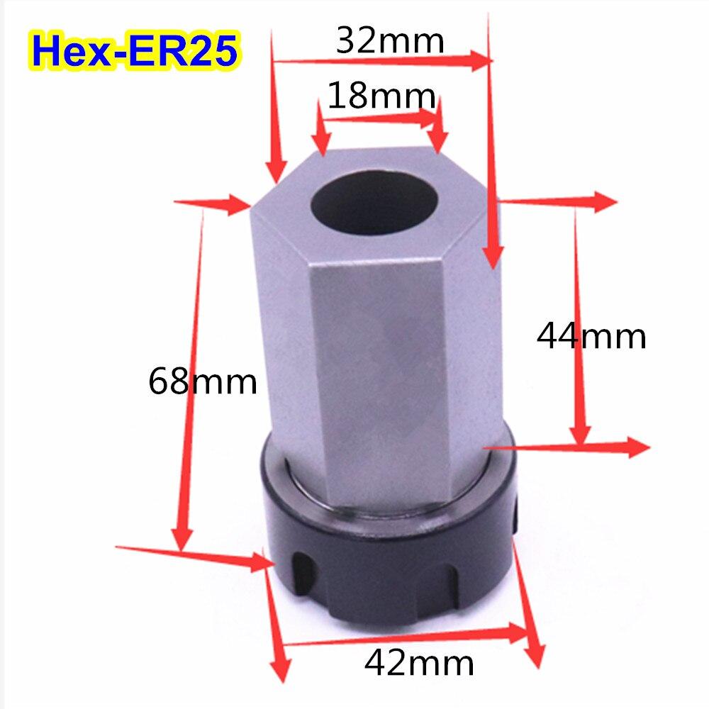 Купить с кэшбэком 1PCS Hard Steel Hex ER25 ER32 ER40 Collet Chuck Block Hex Shank Spring Chuck Collet Holder For CNC Lathe Engraving Machine