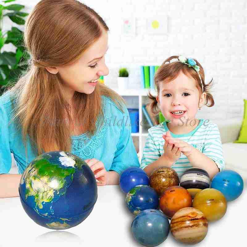 6,3 см восемь планет Луна Звезда шар игрушка красочный надувной губка эластичная печать Звезда шар Детская развивающая игрушка подарок