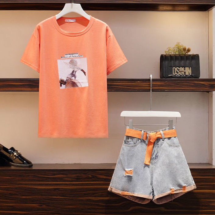 Plus Size Women's Summer Clothes Cover Meat Age Reducing Holes Denim Shorts Printed T Shirt Girls Casual Two Piece Suit