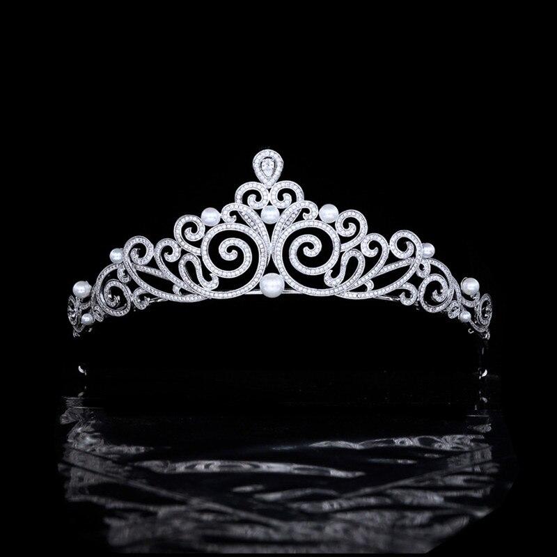تاج الزفاف و التيجان 3A مكعب الزركون الزفاف هيرباند بسيط لؤلؤة العروس إكسسوارات الشعر HQ0291