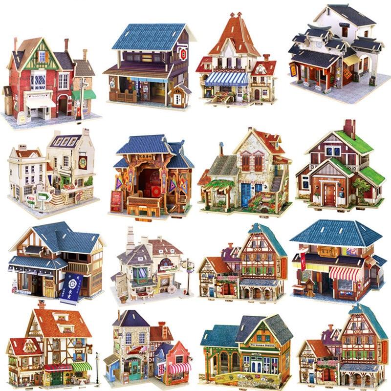 Juguetes para niños, rompecabezas 3D, construcción de casa, juguetes de madera, rompecabezas de madera, juguetes Montessori para bebés, juguetes brinquedos
