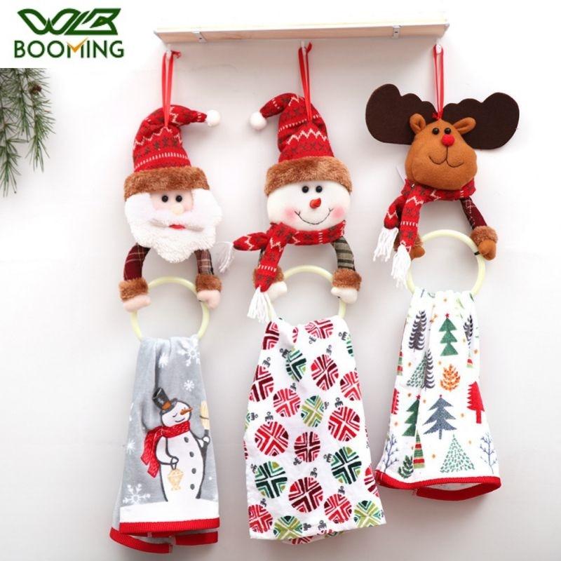 WBBOOMING Christmas Hanging Towel Bar 2020 New Year Santa Claus Elk Rag Towel Hanging Ring Racks Holder Kitchen Home Decorations