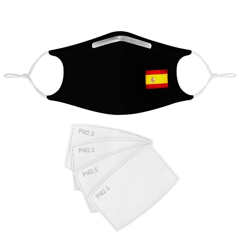 Spanish flag custom mask pattern 4Pcs Filter Masks Carbon Insert Anti-dust Anti-infection Mask Reusable black face cover Spain