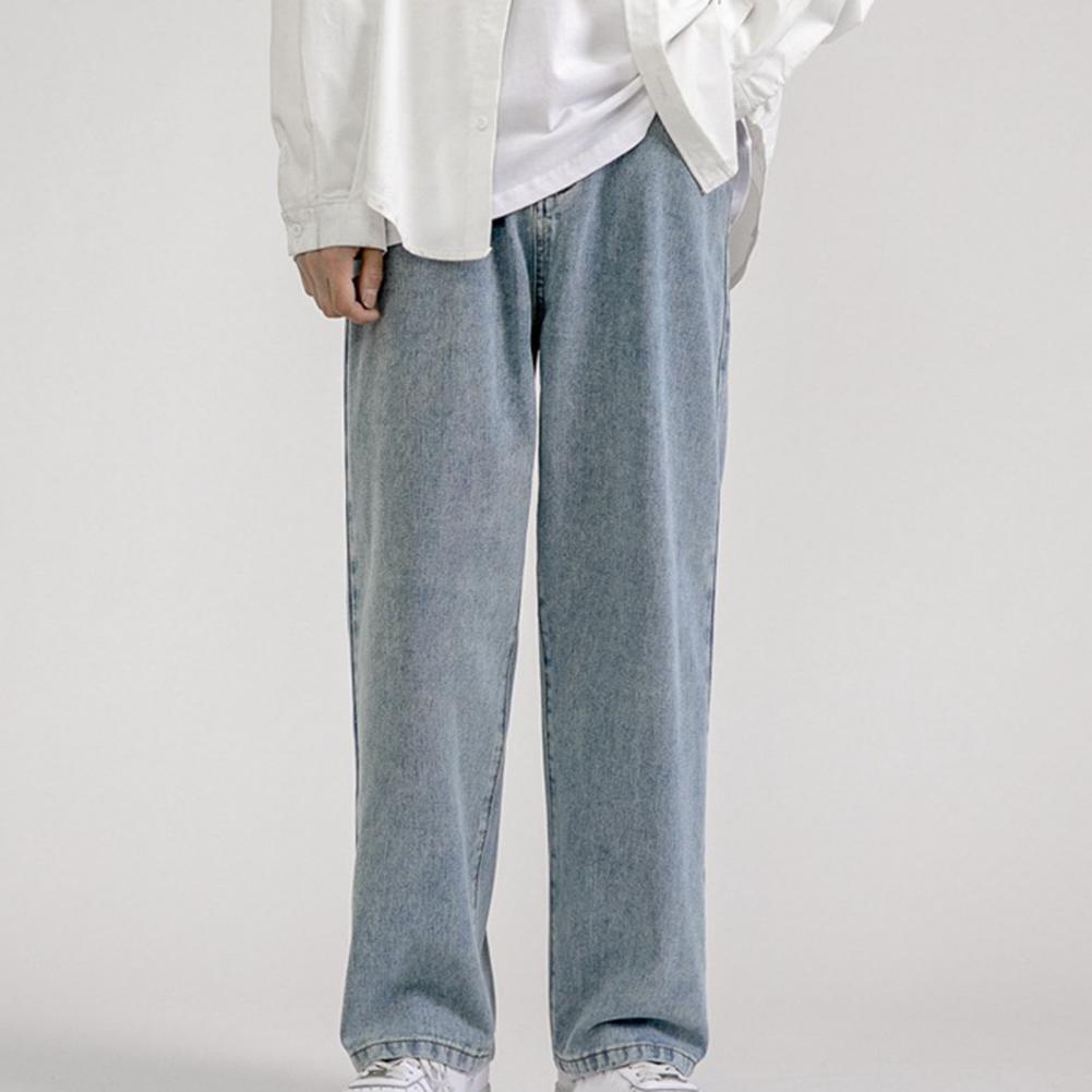 straight leg mid rise faded jeans Men Straight Mid Rise Wide Leg Jeans Multi Pockets Solid Color Hip Hop Denim Pants Soft Skin-friendly Streetwear