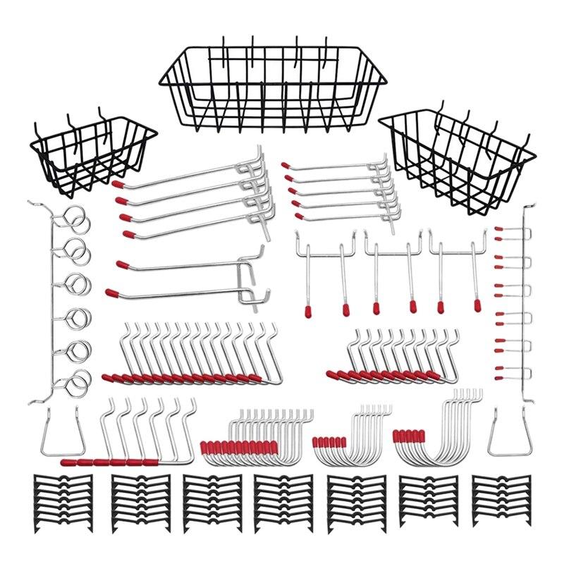 مجموعة منظم ملحقات Pegboard ، مجموعة خطافات Pegboard ، صناديق Pegboard ، خطافات معدنية للتخزين المعلق ، 120 قطعة