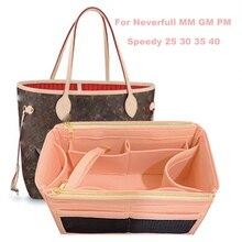 For Neverfull MM GM PM Speedy 30 25 35 40 Customizable 3MM Felt Tote Organizer(w/Double Zipper Pockets)Purse Insert Diaper Bag