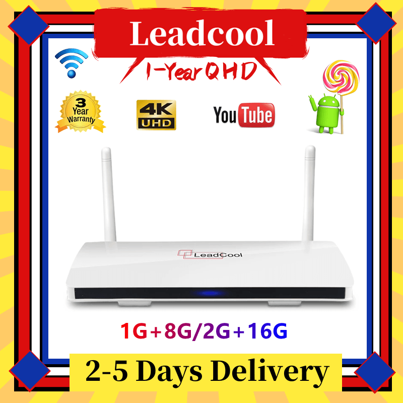 Leadcool QHD Android 9,0 Smart TV BOX Amlogic S905W четырехъядерный Смарт ТВ-бокс с WiFi 2,4G 1G 8G 2G 16G 4K Цифровое ТВ телеприставка