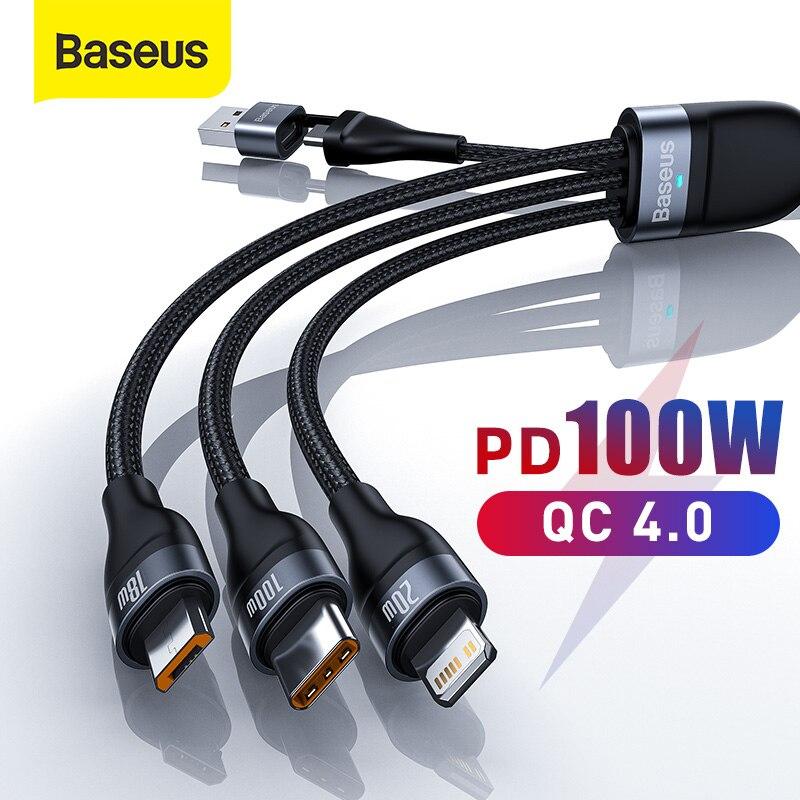 Baseus-كابل USB PD 100W 3 في 1 ، كابل شحن سريع ، Micro USB ، متوافق مع iPhone 12 Mini 11 Pro XR XS Max 8