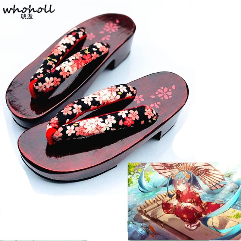 WHOHOLL Miku kimono Cosplay costumes girl Wedge Japanese Wooden slippers geta Slippers Red Sole Women Flip-flops