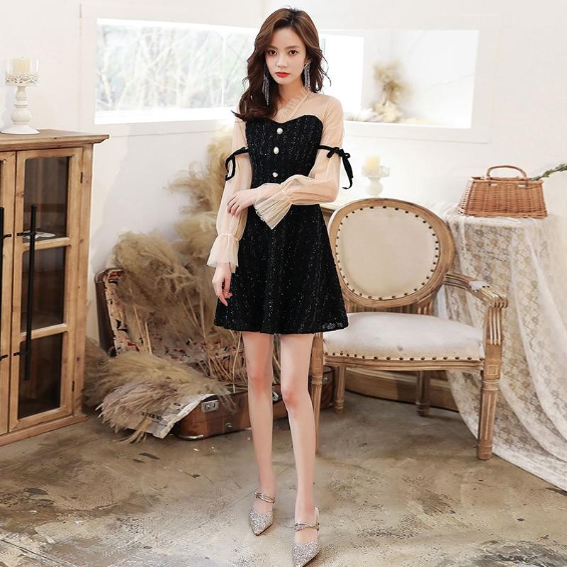 Sexy V Neck Illusion Long Sleeve Above knee Length Cocktail Dress Homecoming Dresses Vestido Coctel Corto 2020