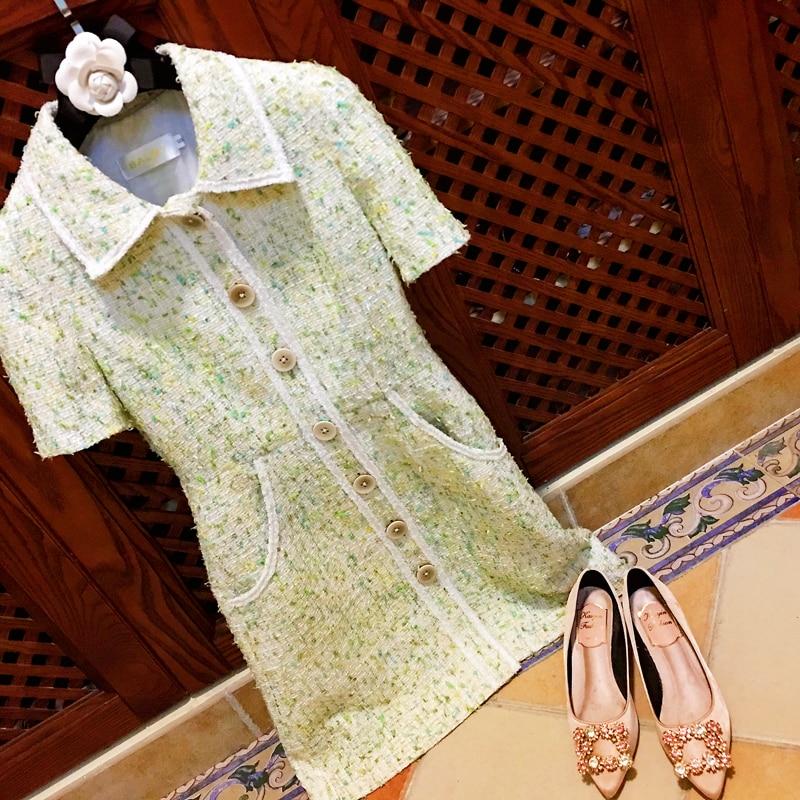 Nuevo vestido verde claro aguacate mujer verano estilo Retro Slim Turn collar medio longitud 2019