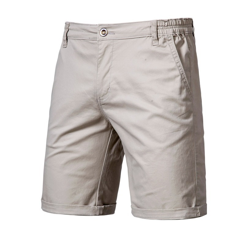 2020 New Summer 100% Cotton Solid Shorts Men High Quality Casual Business Social Elastic Waist 10 Colors Beach