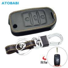 Étui clé de voiture en cuir   Pour Changan CS75 EADO CS35 Raeton CS15 V3 V5 V7, porte-clés pliable, sac à accessoires pour porte-clés de voiture