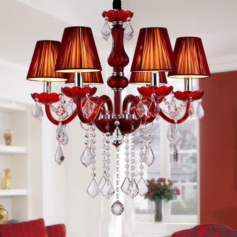 Modern red chandelier Lighting Bedroom Dining room kitchen chandelier With Lamp Shades chandeliers lustre de cristal candelabro