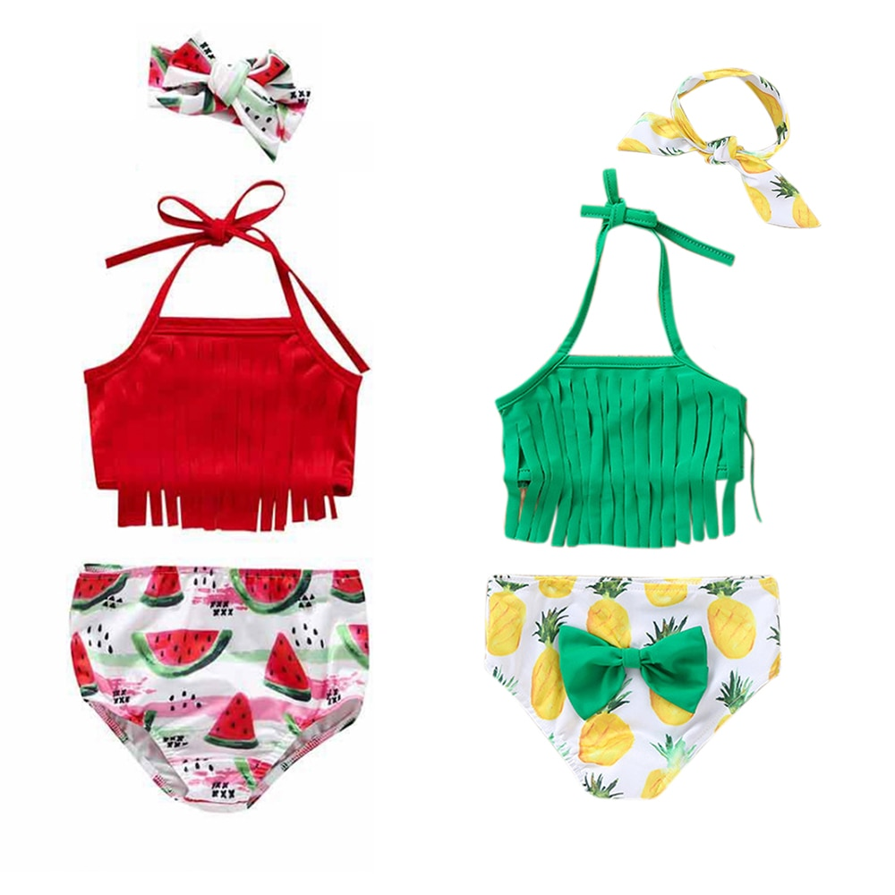 3 uds bebé niñas vestido de baño arco lindo traje de bebé niñas playa Bikini traje de baño con volantes verano baño Baño