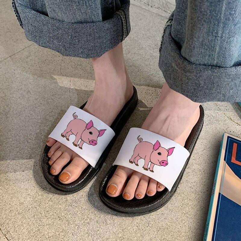 Sandálias para Mulher 2021 dos Desenhos Animados Kawaii Porco Casa Indoor Chinelo Praia Flip Flops Conforto Antiderrapante Senhoras Slides Oversize 41