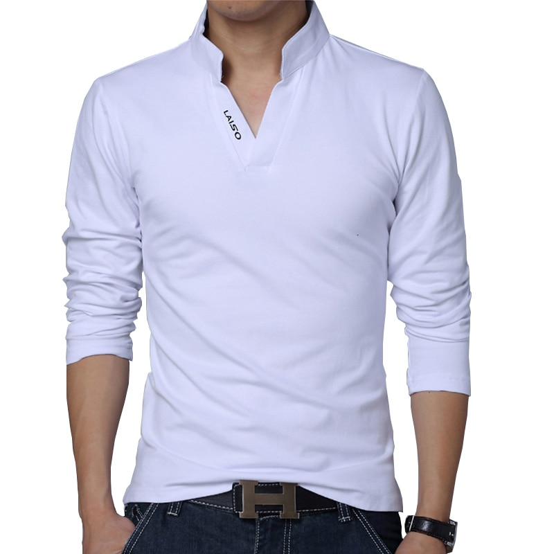 2021 футболка, Мужская Весенняя хлопковая футболка, Мужская Однотонная футболка с воротником мандарин, топ с длинными рукавами, Мужская брендовая облегающая футболка 5XL | Мужская одежда | АлиЭкспресс