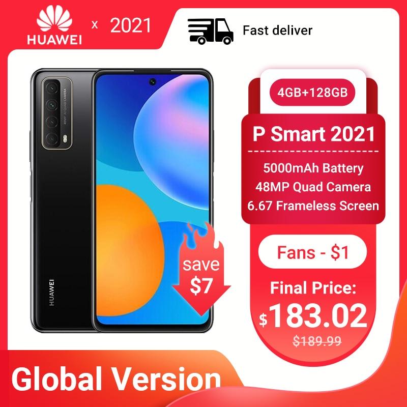 Huawei P Smart 2021 глобальная версия смартфон 4 Гб 128 NFC 48MP Quad Camera 5000 мАч батарея 6,67 безрамочный экран мобильных телефонов