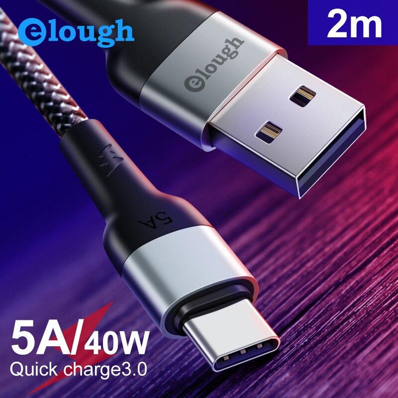 Elough-Cable USB tipo C 5A para móvil, Cable de carga superrápida para...