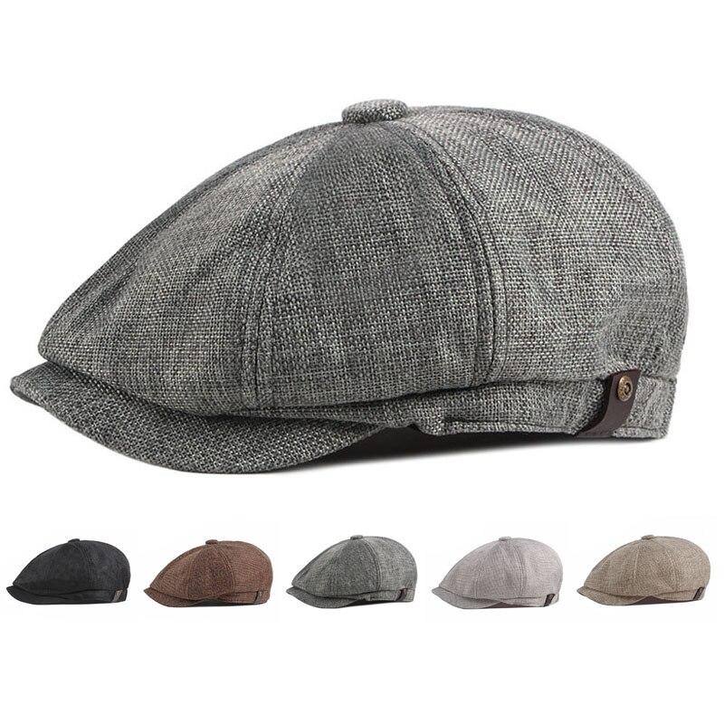 Summer Spring Thin Retro Beret Breathable Men's Beret Newsboy Hat Casual Unisex Octagonal Flat  Cap
