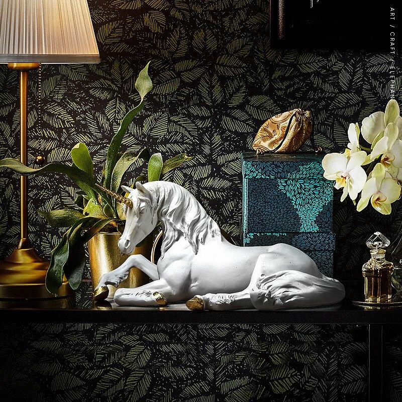 Sala de Estar Acessórios para Casa Nordic Resina Unicórnio Cavalo Artesanato Varanda Casa Decorações Ornamentos Presentes