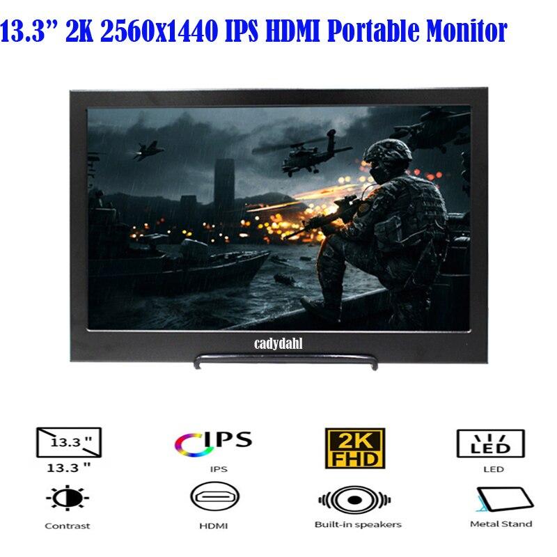 13.3 inch 2K 2560X1440 IPS LCD Slim Mini HDMI USB Portable Monitor Gaming Monitor for Windows 8 10 PS4 Laptop Xbox 360 PC Phone