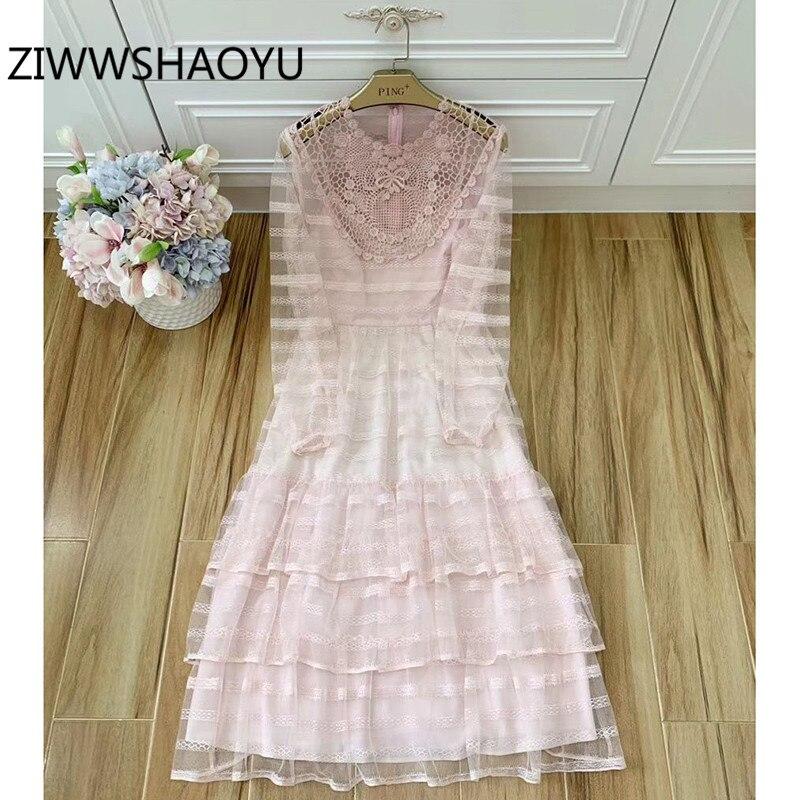 ZIWWSHAOYU vestidos de tul de encaje Rosa elegante de fiesta de verano de manga larga ahuecado bordado Sexy vestido de pasarela