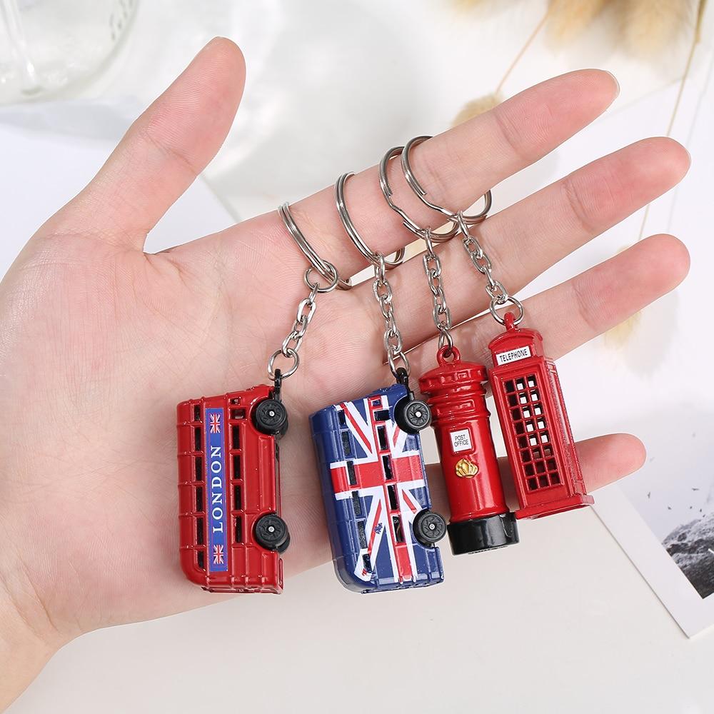 Vicney Fashion Storage Mailbox Box London Bus Key chain London Red&Blue Taxi British flag Souvenir Gift For Keyring Ring For Key