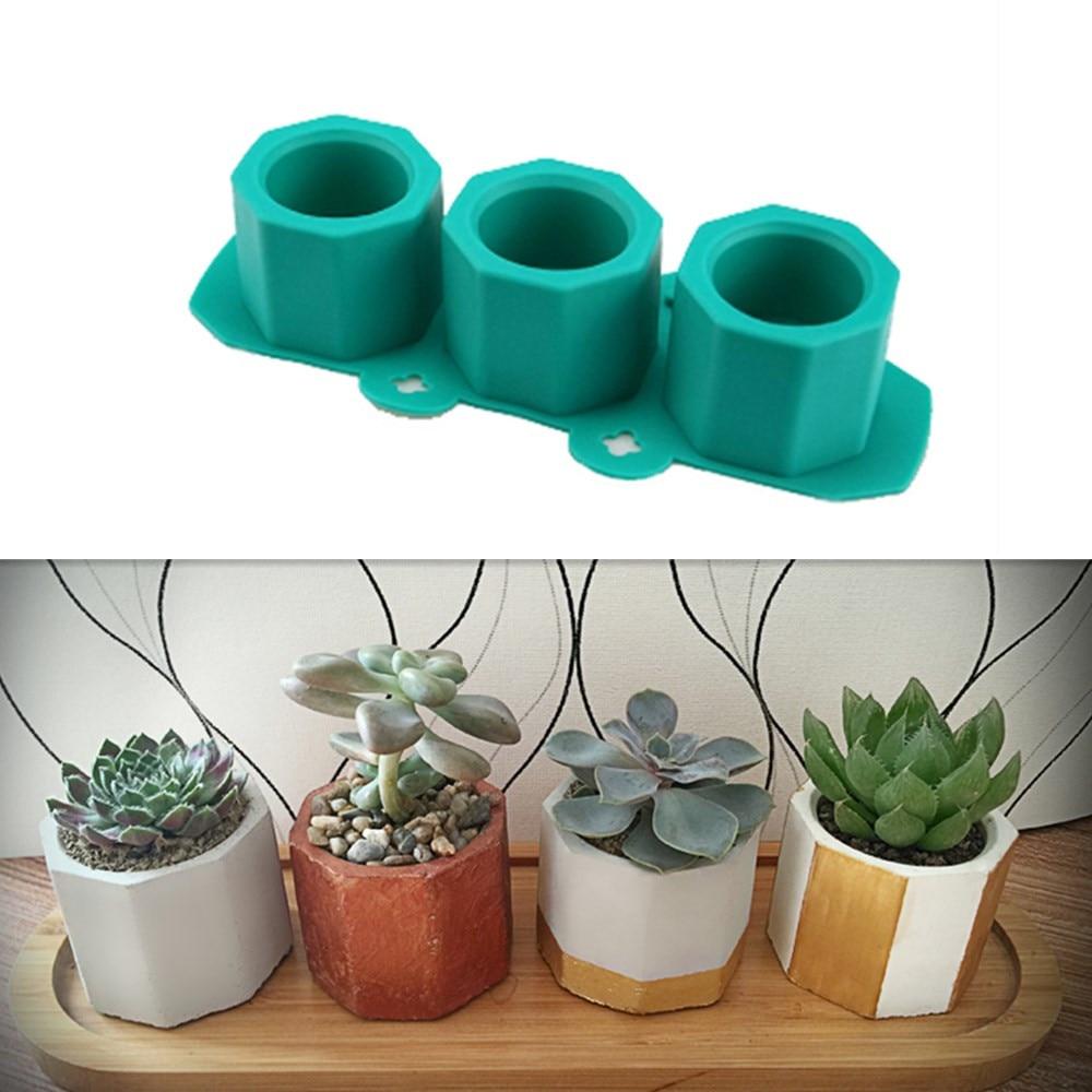 Silicone Pot Molds Form Arts Craft Polygonal Cup Moulds DIY Succulent Flowerpot Clay Plaster Gypsum Mold 3 Holes Concrete Mould
