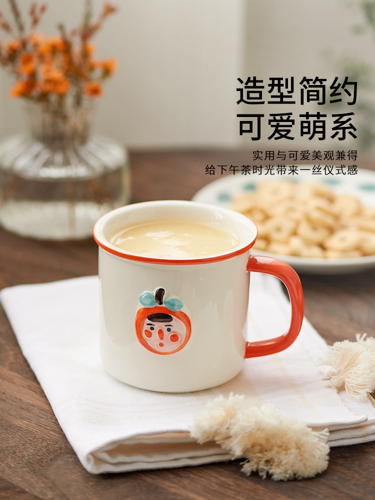Imitation Enamel Cup Ceramic Coffee Mug Cup Breakfast Cup Tea Cup with Handle Household Milk Water Ceramic Mug for Office Travel  - buy with discount
