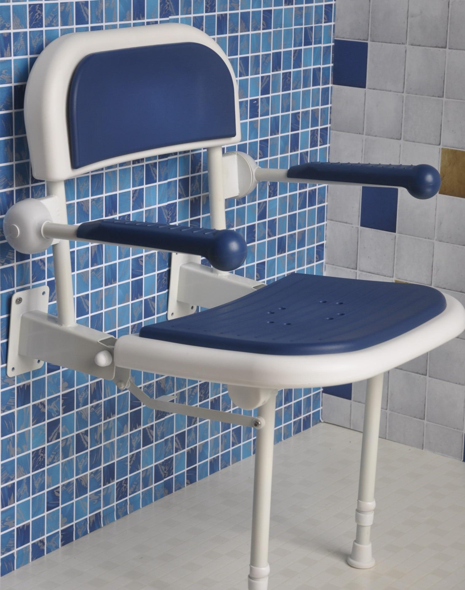 شنت الجدار حمام البراز الألومنيوم الحمام الجدار طوي مقعد 6-Gear سرعة تعديل للطي كرسي استحمام دش مقعد قابل للطي