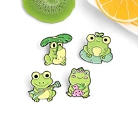 cartoon creative brooch animal frog playing guitar enamel pin alloy yellow green enamel for women pin brooches jewelry1 piece