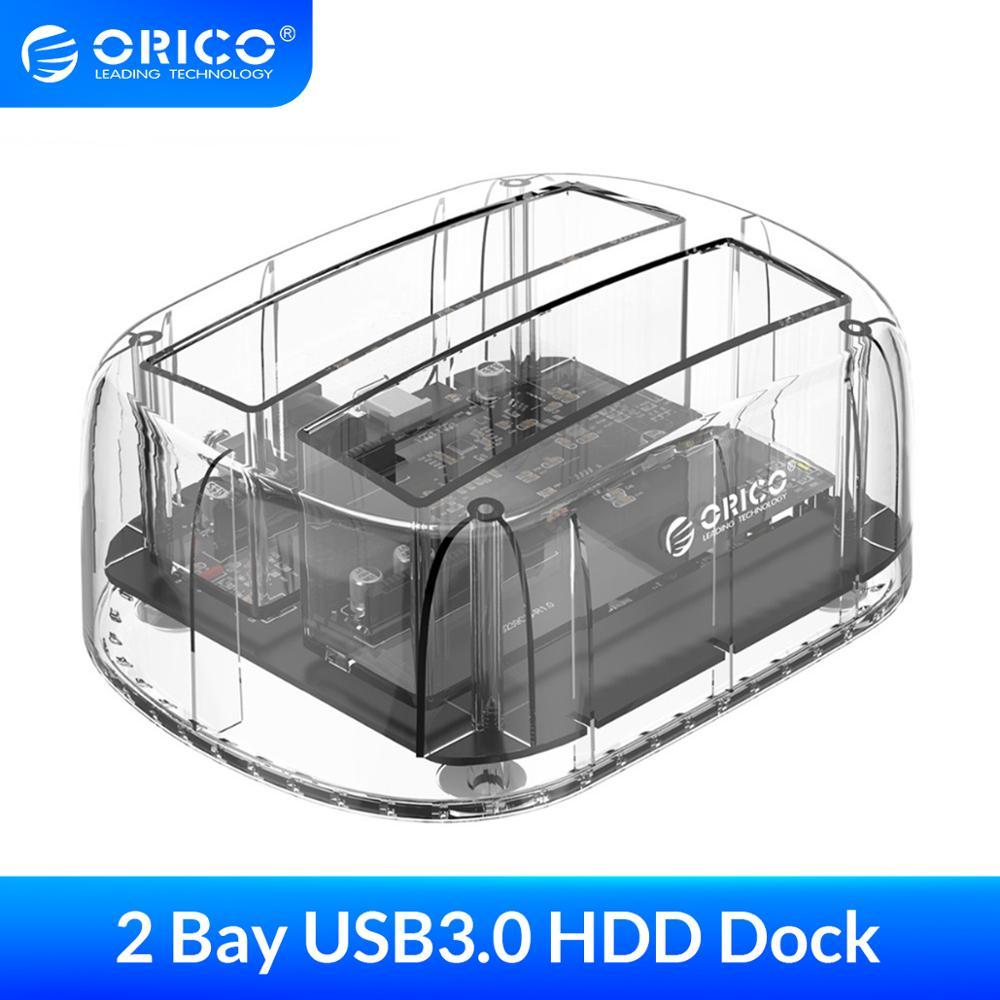 Orico 2.5/3.5 polegada 2 baía usb3.0 transparente disco rígido gabinete suporte uasp 24 tb hdd dock station com adaptador de energia 12v3a