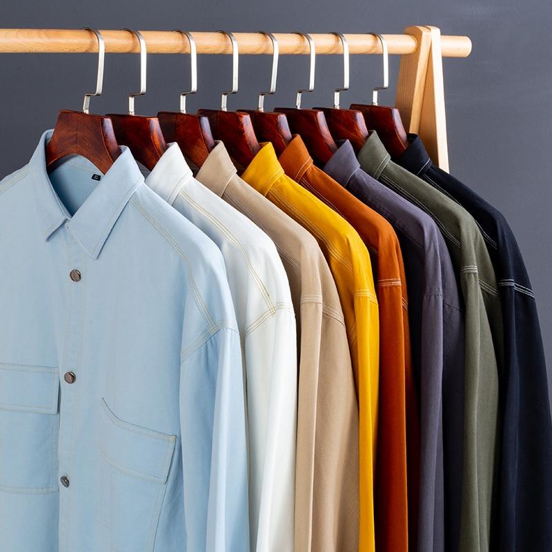 2020 quatro estações camisa de manga longa masculina nova moda casual camisa de algodão duplo bolso vários estilos gola quadrada camisa fina