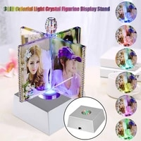 led colorful luminous base light laser rotating crystal display base stand holder glass transparent objects presents