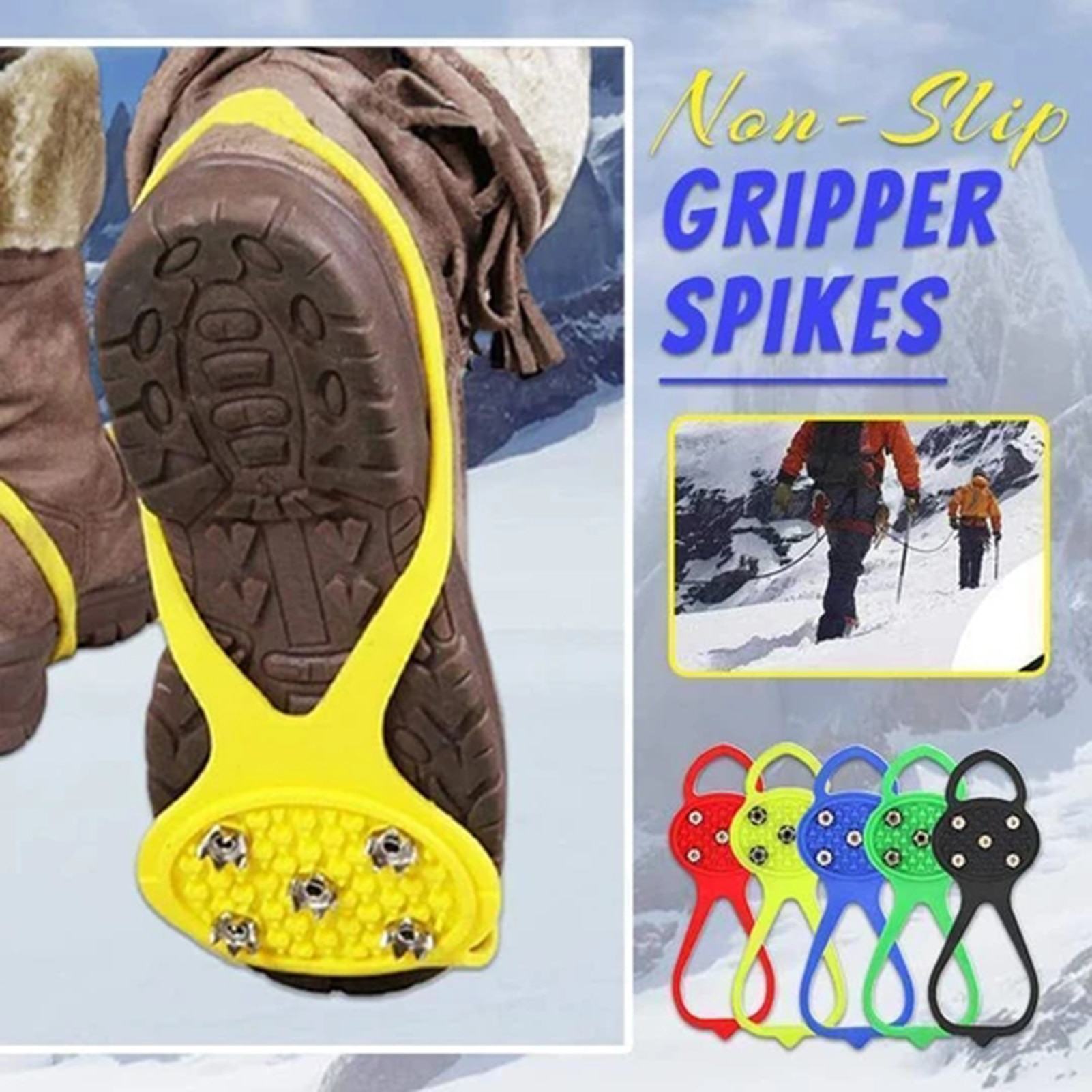 Universal Anti-Slip Gripper Spikes Crampons Grippers Over Shoe Durable Cleats Elasticity Perfect for