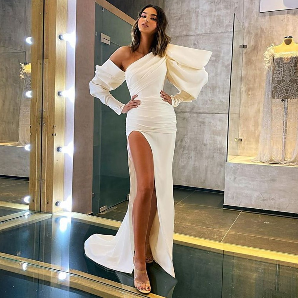 luxury long tail satin red bling ball gown wedding dresses newest sexy designer bridal wedding gowns with sleeves Sexy Mermaid Wedding Dresses Satin Side Split Wedding Bridal Dresses Long Sleeves Ivory Wedding Gown