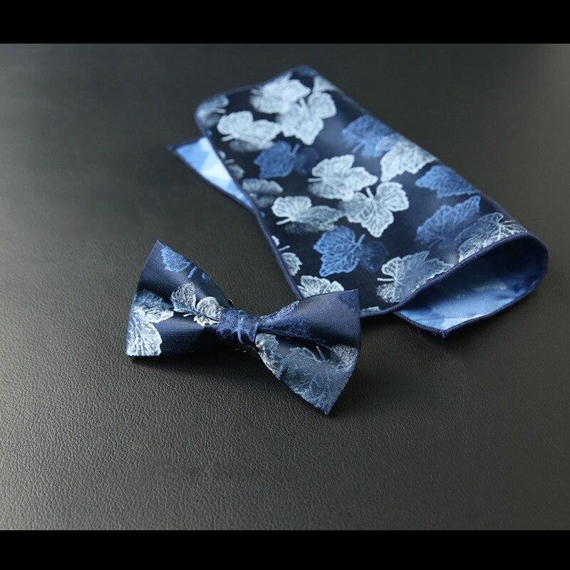 Floral azul oscuro hombre tejido seda boda pajarita pañuelo conjunto bolsillo cuadrado Borgoña moda fiesta boda corbata para hombres