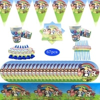 67pcs little baby bum children birthday disposable tableware cup plate flag tablecloth kids wedding party decoration supplies