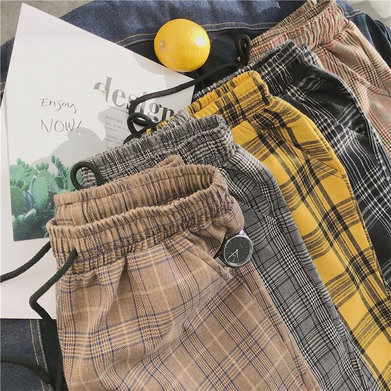 Men 2020 Harajuku Plaid Pants Korean Streetwear Loose Casual Pants Plus Size for Female PT488