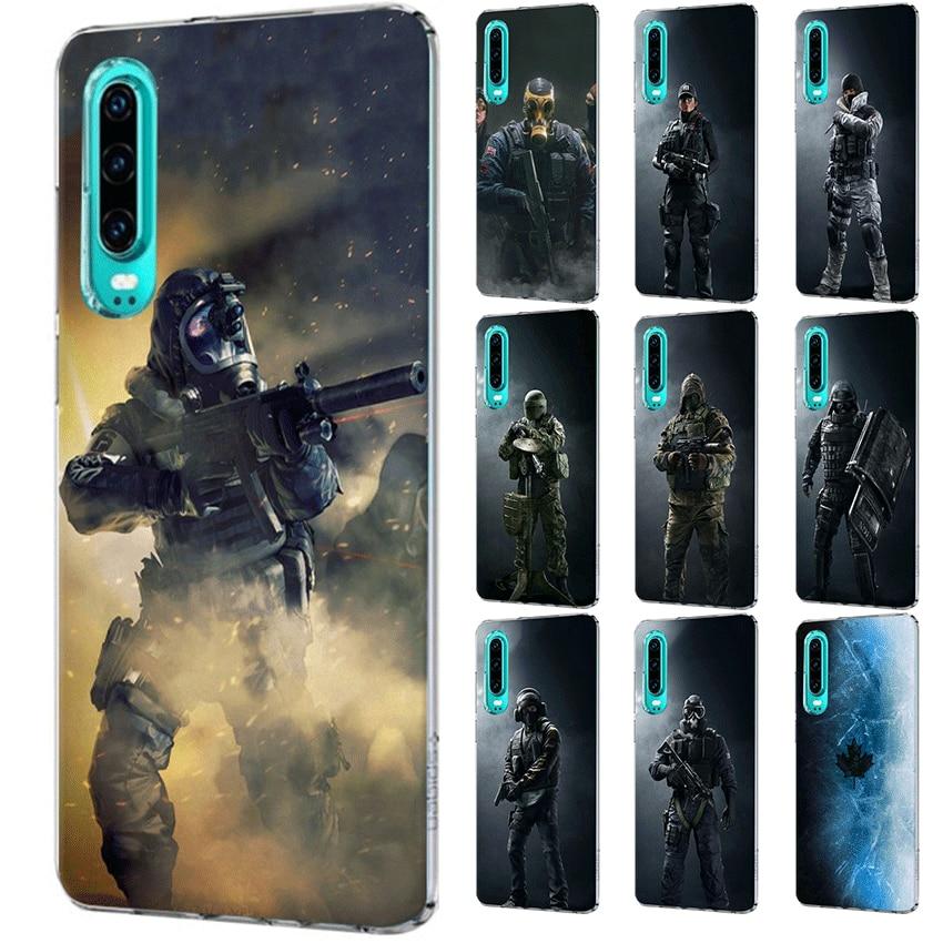 Funda de teléfono móvil para P Smart Z Plus P30 P20 P10 P9 P8 Lite Pro, funda rígida con arcoíris, seis asedio, operación, armazón para hielo negro