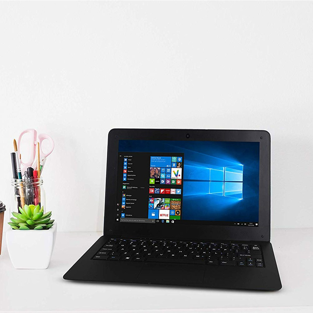 z8350 10.1'' Mini Laptop 4G RAM 64G SSD Portable Small Notebook PC Windows 10 Pro Fashion Cool Black Office Study Slim Netbook