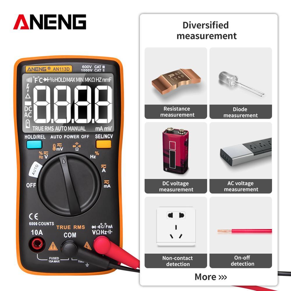 Multímetro Digital AN113D Medidor eléctrico de 6000 cuentas probador de transistores medidor de voltaje de CA/CC de rango automático