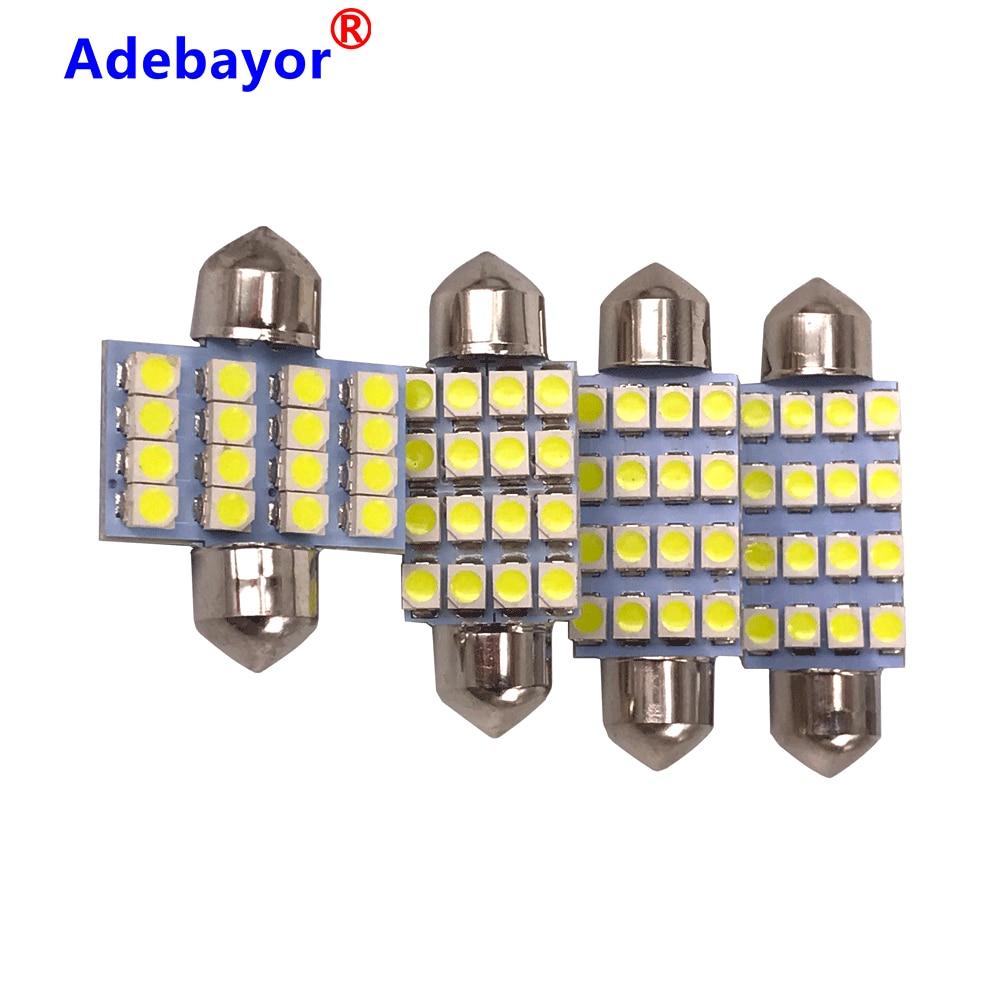100 stücke 3528 1210 weiß 16 SMD LED Auto Dome Girlande-innen Lichter Leuchtmittel 31mm 36mm 39mm 41mm Auto Dach Auto Stamm licht DC 12V