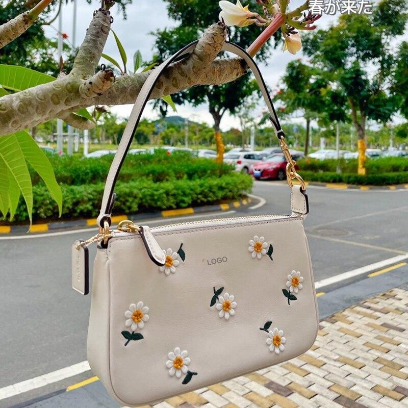 زهرة جلد البقر ديزي التطريز سلسلة قطري جونغ حقيبة