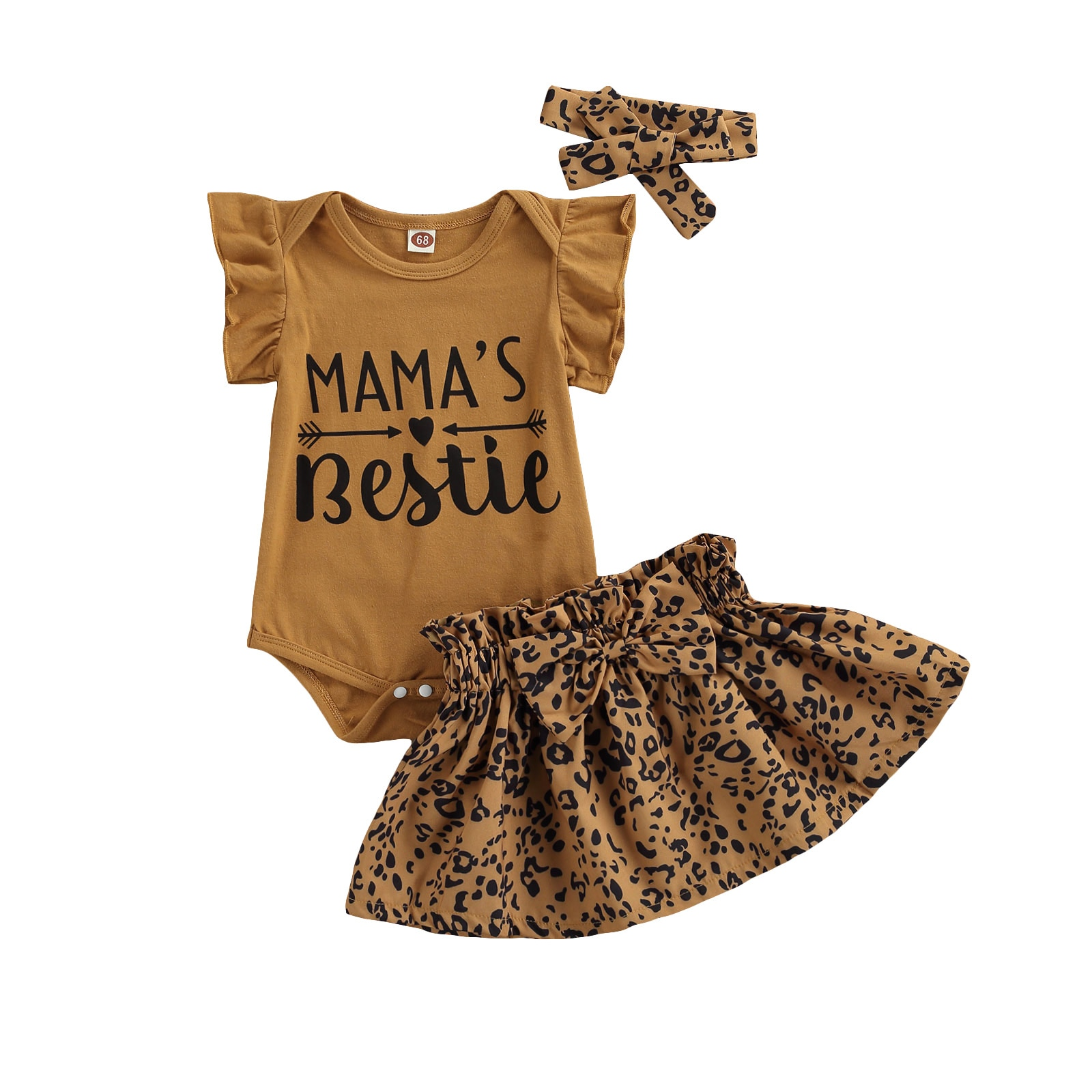 OPPERIAYA 3Pcs Fashionable Baby Girls Outfit Round Collar Fly Sleeve Letter Print Bodysuit Leopard Print Short Skirt Headwear