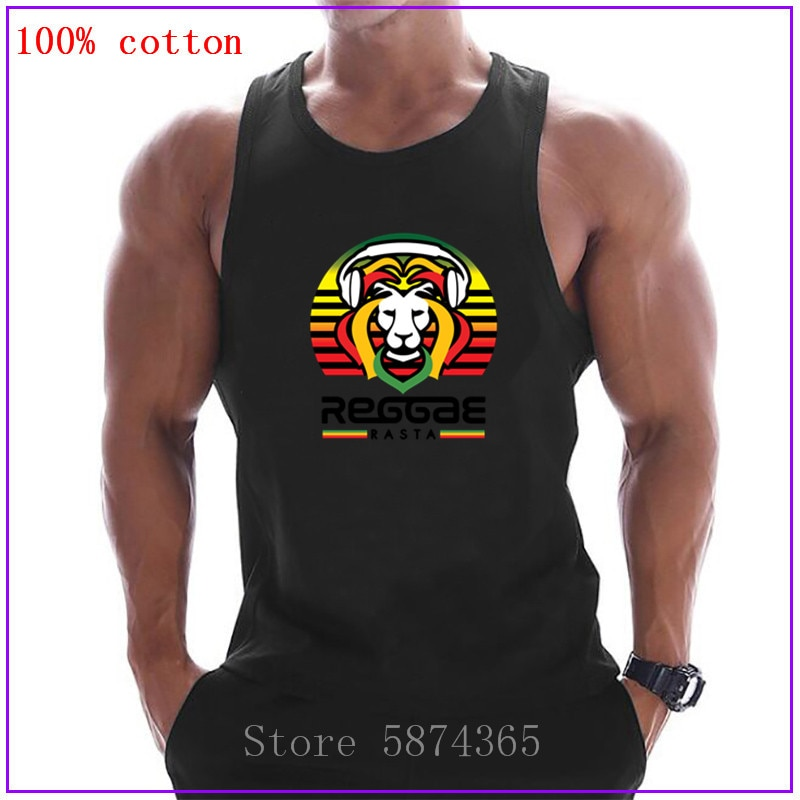 Camiseta sin mangas Rasta Reggae para amantes de la música, camiseta sin mangas para hombres, camiseta para culturismo, Rey León de Jamaica, camiseta sin mangas para Fitness